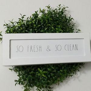 Rae Dunn White Wooden Wood sign So Fresh So Clean